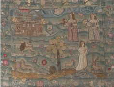 17th century needlework: Raised work and needlepoint; pictoral. Colored silks and metal threads over a tent stitched ground.