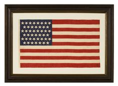 """Jeff Bridgman Antique Flags and Painted Furniture - 45 RATHER POINTY STARS IN LINEAR ROWS WITH """"DANCING"""" OR """"TUMBLING"""" ORIENTATION, 1896-1907, UTAH STATEHOOD"""