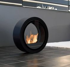 Freestanding fireplace.