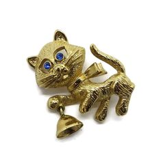 Vintage AVON Cat Brooch, Gold Tone Kitten, Bell Pin, 1980s Jewelry, Gift for Her, Gift Boxed