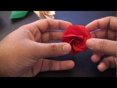 Origami rose video tutorial.  I love origami, and always have the goal of trying it -- just not the patience!