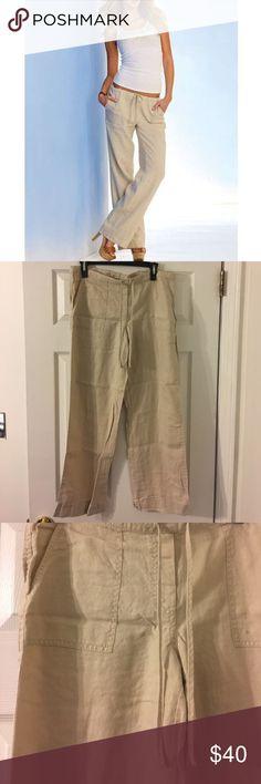Khaki Linen Pants Never worn khaki linen pants from Victoria's Secret / London Jean. No stains / damage. Pet free : smoke free home. Victoria's Secret Pants