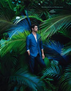 Metamorphosis, an Hermès story. Jacket in patterned cotton poplin, straight trousers in patterned cotton and linen gabardine. Hermès 2014 spring-summer campaign. #hermes #fashion #menswear Tropical Fashion, Summer 2014, Spring Summer, Spring 2014, Fashion Shoot, Men's Fashion, Fashion Menswear, Editorial Fashion, Green Fashion