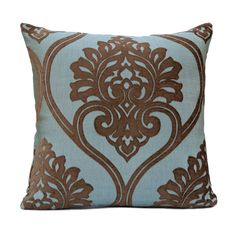 """Brown and Blue Pillow Cover Size: 18""""x18"""" Fabric: Silk Blend Visit https://www.etsy.com/shop/SHPillows?ref=l2-shopheader-name to see the rest of our collection. Thank you!!"""