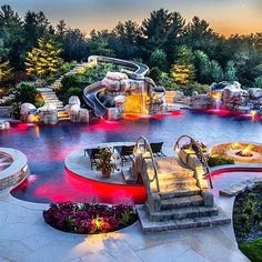 Awesome slide, lots of lights, sunbathing spot, fire pit.
