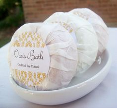 Round soap packaging - tissue wrap with sticky label
