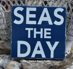 Beach Decor - Beach Sign - Nautical Decor - Coastal - Navy - Seas The Day - Rustic - Beach Theme - Beach House Wall Hanger on Etsy, $22.00