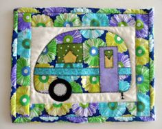Retro camper mug rug, vintage camper trailer, quilted snack mat, applique camper trailer mini placemat, glamping decor, quiltsy handmade
