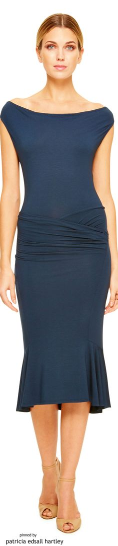 Donna Karan 2015  blue dress women fashion outfit clothing style apparel @roressclothes closet ideas