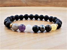 Green Jade /& Black Moonstone Healing Empath Protection Bracelet