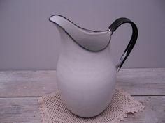 white enamel pitcher by hauteGREENhutch on Etsy, $32.00