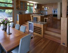 Waterfront Residence - Dining Room - contemporary - dining room - seattle - Thielsen Architects, Inc. Split Level Home Designs, Küchen Design, House Design, Design Ideas, Rack Design, Interior Design, Split Level Kitchen, Narrow Kitchen, Open Kitchen