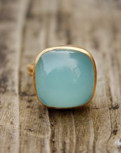 Sea Foam Green Aqua Chalcedony Ring - Cushion Cut - Adjustable Ring, Dreamy. $49.00, via Etsy.