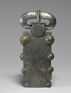 7thC merovingian tin plated bronze buckle. Tabariane, Aquitaine, France.