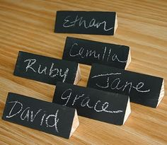 seating nametags with chalkboard paint! such a good idea for children learning name identifying at meal times!