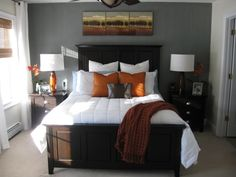 I love this for a bedroom! The wall color is great and I love the contrast between the dark furniture. I will make this happen.
