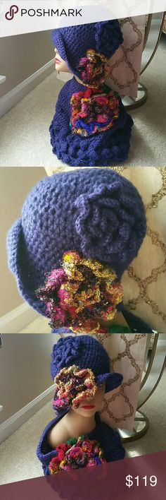 Vintage Crochet Deep Blue Hat with Infinity Scarf I ACCEPT OFFERS! I NEVER DECLINE OFFERS! I ACCEPT OR COUNTER ONLY!   TEMPORARY HOLIDAY PRICE DROP!  Exotic Threading from Thailand and Europe.  Beautiful Deep Blue Crocheted Hat with Floral Embellishments Bella Vintage Boutique  Accessories Hats