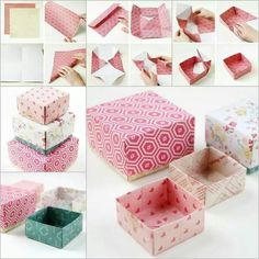Making Gift Box with Origami Making Gift Boxes, Homemade Gift Boxes, Diy Gift Box, Diy Box, Diy Gifts, Handmade Gifts, Origami Gift Box, Cute Origami, Origami Easy
