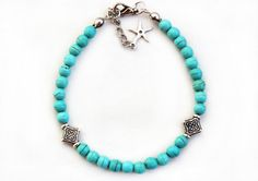 Turquoise bracelet natural stones blue by asteriascollection, $9.50