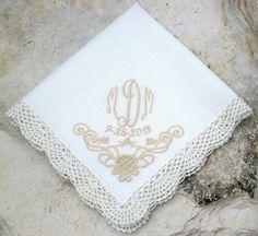 Wedding Handkerchief, Bride & Groom Handkerchief, Wedding Gift, Lace Handkerchief, Embroidered Cutwork Handkerchief - Flip Flops For All