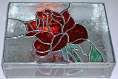 STAINED GLASS Jewelry Box Red Rose by glassmagic on Etsy, $69.00