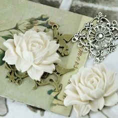 2pcs large blooming vintage peony resin flowers 46mm by zacoo, $2.50