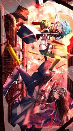 Sinon and Kirito _Sword Art Online Kirito Asuna, Sinon Sao, Kirito Sword, Sword Art Online, Online Art, Tous Les Anime, Gun Gale Online, Accel World, Online Anime