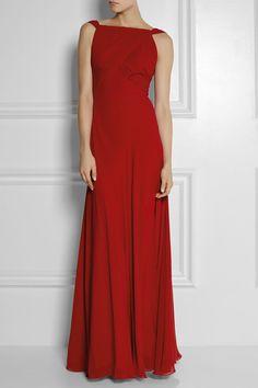 Saint Laurent hand-pleated silk-georgette gown via net-a-porter.com #SaintLaurent #gown