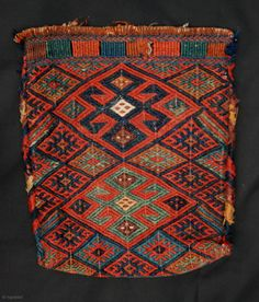 This rare and charming little flatwoven spindle-bag was made by Sanjabi-Kurds during the century. It is in excellent condition and meas. Textiles, Textile Prints, Art Chinois, Tribal Bags, Ethnic Bag, Art Japonais, Weaving Art, Handmade Bags, Woven Rug