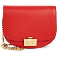 Victoria Beckham Red Leather Shoulder Bag ($1,470) ❤ liked on Polyvore featuring bags, handbags, shoulder bags, chain shoulder bag, genuine leather handbags, red shoulder bag, chain strap purse and real leather purses