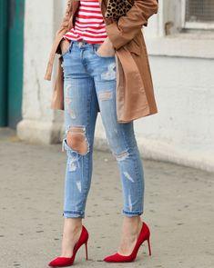 Jeans Distroied + Scarpin Vermelho #ModaParaDSepoisDeEmagrecer