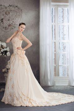Sweetheart Floor Length Flowers Embroidery Beading Satin A Line Wedding Dress