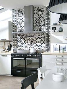 Pared de la zona de cocción con baldosas hidraulicas-kitchen tiles