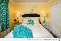 Gorgeous Grey, Turquoise and Yellow Bedroom Designs | Home Design Lover.  P. Scinta Designs This room may be small; but this room is in Las Vegas! Believe it! Small, pretty and sparkling!