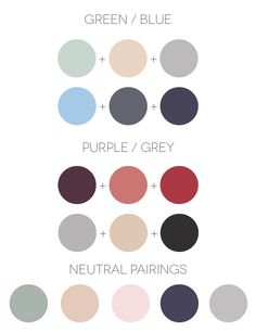 Wedding color combinations for green, blue, purple , grey and neutrals