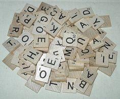 100 Wood Scrabble Letter Tiles Full Set Vintage by PleaseRingBell