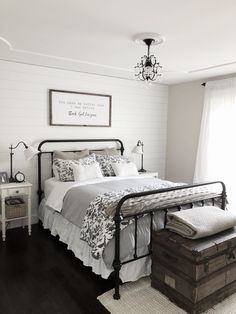 Modern Farmhouse Bedroom Decor Shiplap Accent Wall, Black Iron Bed on Home Inteior Ideas 7697 Home Decor Bedroom, Home Bedroom, Bedroom Makeover, Bedroom Design, Farmhouse Bedroom Decor, White Plank Walls, Guest Bedrooms, Home Decor, Remodel Bedroom