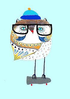 Owl Skater. Illustration print from original by AshleyPercival