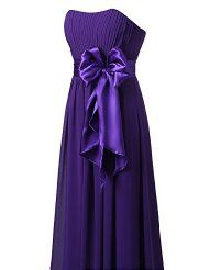 Purple Strapless Sweetheart Floor Length Bridesmaid Dress With Bowknot Gown For Wedding Purple Bridesmaid Dresses, Prom Dresses, Formal Dresses, Bridesmaids, Chiffon Dress, Strapless Dress, Long Evening Gowns, Wedding Party Dresses, Wedding Things