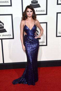 Grammys Red Carpet Dresses 2016 | POPSUGAR Fashion: Selena Gomez Wearing a Calvin Klein gown and Giuseppe Zanotti shoes.