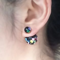 Black/Color Mix Double Sided Earrings by JHJEWEL on Etsy