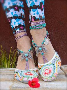 Tribal BUTTERFLY BAREFOOT WEDDING barefoot sandals by GPyoga, $72.00