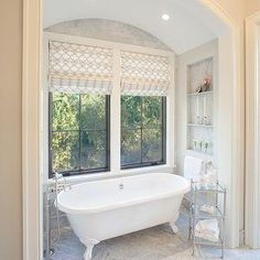 patterned roman shade over tub. Will find a pattern to compliment wall texture/color