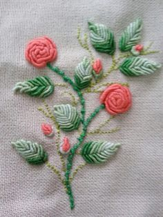 Bullion Stitch Rose : bullion, stitch, Bullion, Stitch, Embroidery, Roses, Wildflowers, Pesquisa, Google, Brazilian, Embroidery,, Designs