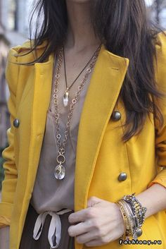 I love mustard colored clothing. This jacket with the shirt and jewelry is perfect for me.