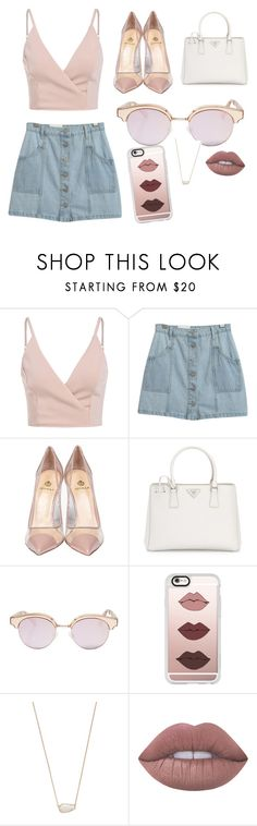 """Untitled #5"" by rosy-arce ❤ liked on Polyvore featuring Chicnova Fashion, Semilla, Prada, Le Specs, Casetify, Kendra Scott and Lime Crime"