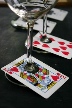 Card Wine Glass Tags. One way to recycle an incomplete deck of cards! Maybe you could laminate them :) And everyone knows which drink is theirs! This would work with game cards too-like monopoly chance cards...etc. Conversation piece! #PlayingCards