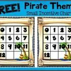 FREE!!!  This is a small incentive chart with a Pirate Theme.  I use these as students master their multiplication facts.  Students place a sticker...