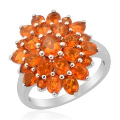 Liquidation Channel:  Jalisco Fire Opal Ring in Platinum Overlay Sterling Silver (Nickel Free)