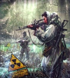 Wanderers with guns. Radiation.